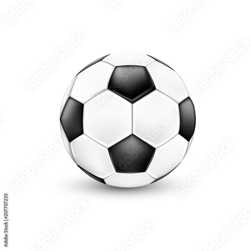 Fotobehang Bol Soccer ball, black and white. Sport icon design. Illustration isolated on white background.