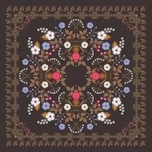 Square Ornamental Shawl Or Tea Box Design. Beautiful Floral Ornament And Lovely Frame On Dark Brown Background In Vector.