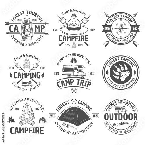 Fotografía  Camping and outdoor adventure vector black emblems