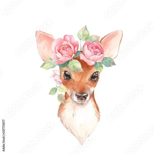 Fototapeta premium Baby Deer i kwiaty. Ręcznie rysowane ładny płowy. Akwarela ilustracja