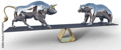 bull and bear stock market scale symbols Fototapet