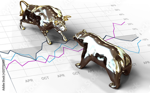 Fototapeta Wall Street Bull and Bear investing obraz