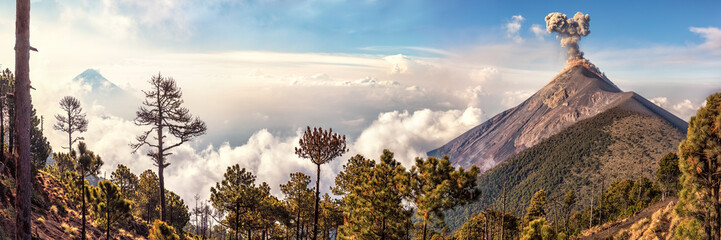 Volcanoes Agua and Fuego,View from Acatenango, Guatemala