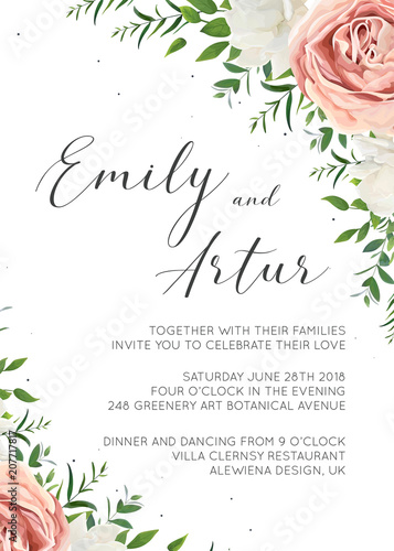 Wedding Invitation Floral Invite Card Design With Creamy