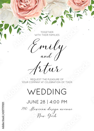 Fototapeta Wedding Invitation Floral Invite Card Design With Creamy White Garden Peony Flowers Blush Pink Roses Green Tree Leaves Greenery Herbs