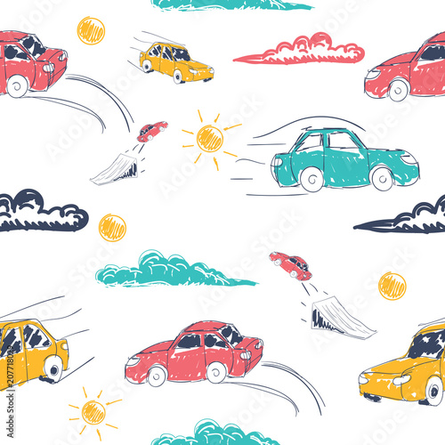 Foto op Canvas Op straat Amazing seamless vector car pattern. Baby ornament with toy machine. illustration