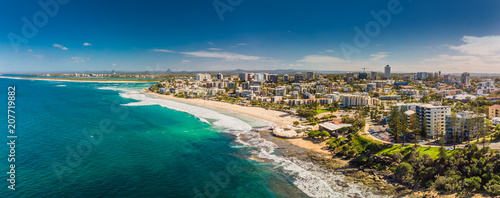 Tablou Canvas Aerial panoramic image of ocean waves on a Kings beach, Caloundra, Queensland