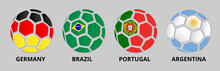 Germany, Portugal, Brazil, Argentina Banner With Soccer Balls.