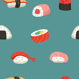 Japanese cuisine. Seamless pattern. Sushi and rolls. - 207721855