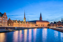 Copenhagen City At Night With Christiansborg Palace Copenhagen City, Denmark