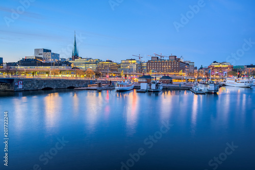 Stockholm cityscape skyline at night in Stockholm, Sweden Obraz na płótnie