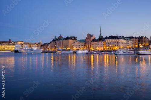 Plakat  Stockholm cityscape skyline at night in Stockholm, Sweden