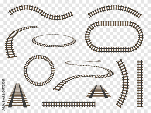 Rails set Isolated. Vector railways on transparent background. Fototapete