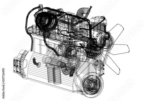 Car Engine Blueprint   Isolated