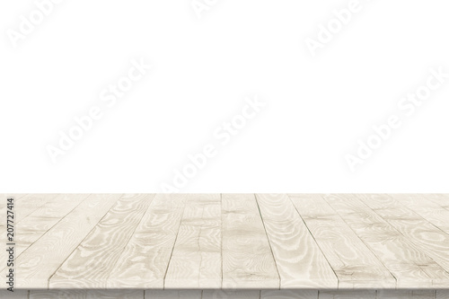 Foto  Rustic wooden table vintage style in perspective view for product placement or montage with focus to table