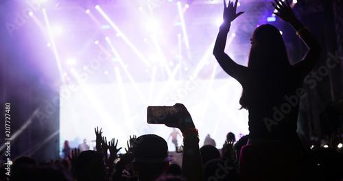 Aluminium Prints People enjoy concert at festival