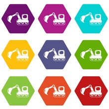 Excavator Icons 9 Set Coloful Isolated On White For Web