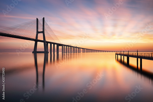 Keuken foto achterwand Centraal Europa Bridge Lisbon at sunrise, Portugal - Vasco da Gamma