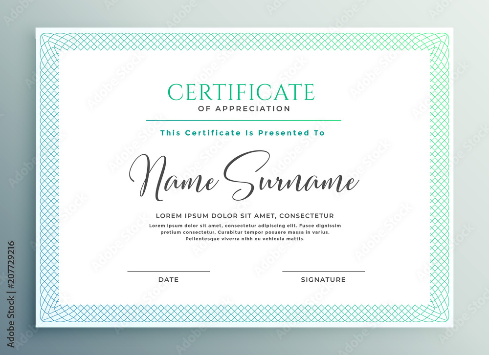 Fototapety, obrazy: certificate of appreciation template design