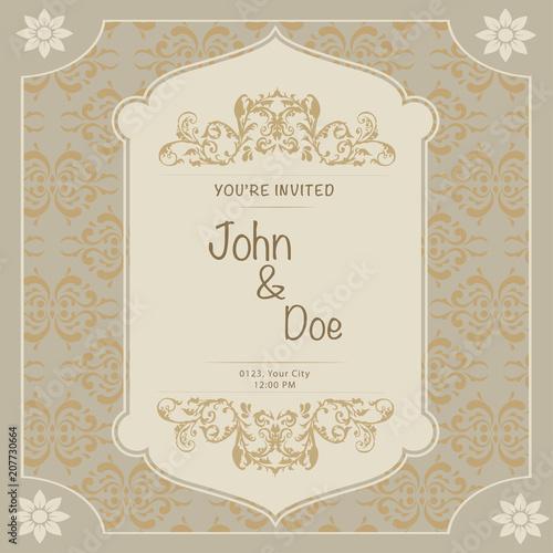 Papiers peints Affiche vintage Wedding Invitation and Ornament