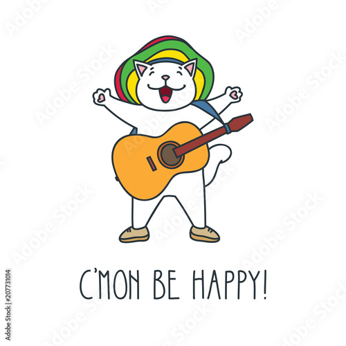 Photo  C'mon be happy! Doodle vector illustration of cute rasta cat with guitar