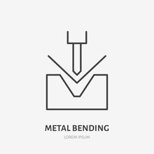 Metal Bending Flat Line Icon. Iron Works Sign. Thin Linear Logo For Metalwork Service.