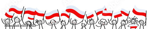 Cheering crowd of happy stick figures with Polish national flags, smiling Poland supporters, sports fans isolated on white background