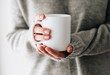 canvas print picture - Closeup of female hands with a mug of beverage. Beautiful girl in grey sweater holding cup of tea or coffee in the morning sunlight. Mug for your design. Empty.