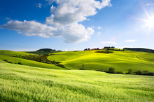 Italy Countryside Landscape With Tuscany Rolling Hills ; Sunset Over The Farm Land
