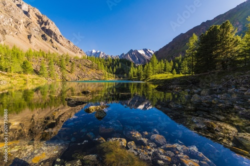 Spoed Foto op Canvas Bergen lake