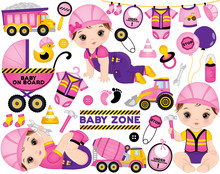 Vector Set With Cute Little Baby Girls Dressed As Little Builders And  Construction Transport