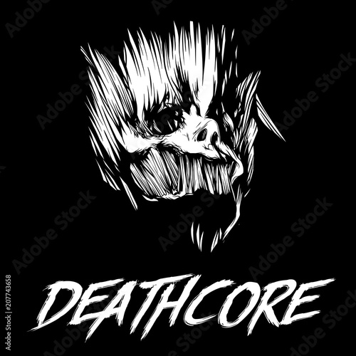 Photo Black and white skull of skull and inscription deathcore
