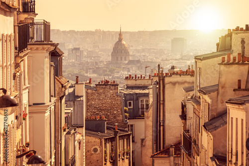 Keuken foto achterwand Centraal Europa Panorama of Paris, view from the hill of Montmartre, in Paris France