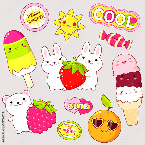 Set of cute stickers in kawaii style Wallpaper Mural