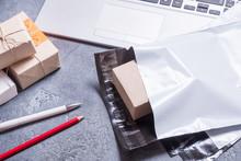 Poly Plastic Mailer Mailing Envelope On Grey Background