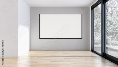 Photo Modern bright interiors empty room with mockup poster frame 3D rendering illustr
