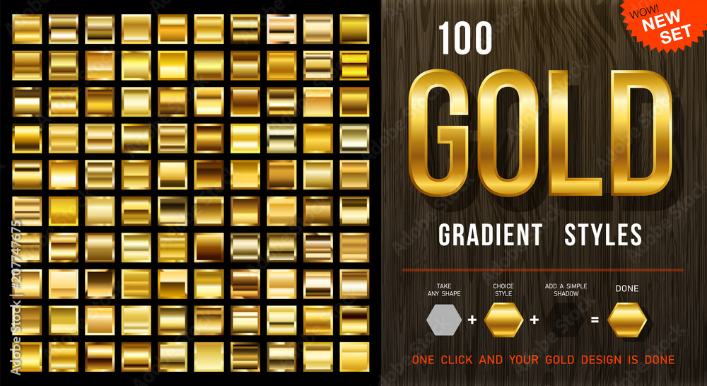 Fototapety, obrazy: 100 vector gold gradient styles. Golden squares collection with contour. Golden background texture. Mega collection golden gradient materials. EPS10