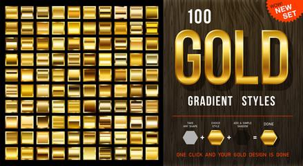 Fototapeta 100 vector gold gradient styles. Golden squares collection with contour. Golden background texture. Mega collection golden gradient materials. EPS10