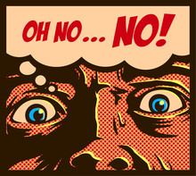 Pop Art Comic Book Style Man In A Panic With Terrified Eyes And Face Staring At Something Shocking Or Dreadful Vector Illustration
