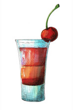 Sketch Cocktail Isolated On Wh...