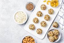 Raw Vegan Healthy Dessert, Date And Nuts Bliss Balls, Ingredients. Top View, Space For Text.