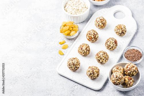 Raw vegan healthy dessert, date and nuts bliss balls Wallpaper Mural