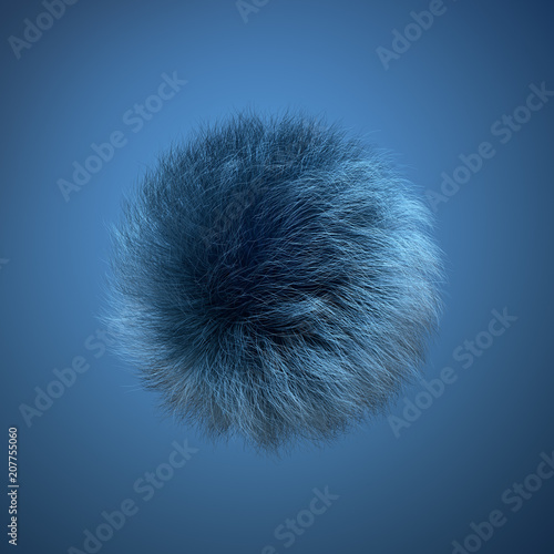Abstract Furry Ball Blue Background Wall mural
