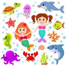 Cute Cartoon Sea Animals And Mermaids