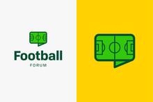 Football Soccer Field Logo. Editable Vector Logo Design.