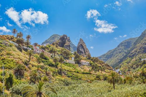 Poster Canary Islands La Gomera Island Cliffs Sunny Landscape