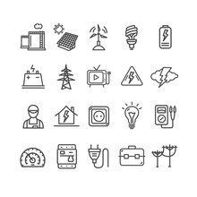 Electricity Signs Black Thin L...