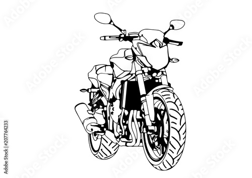 Poster Motorcycle sketch of a sport motorcycle vector