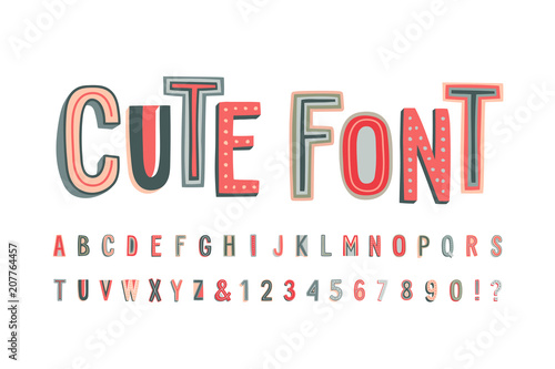 Uppercase cute alphabet font. Letters, numbers and symbols.