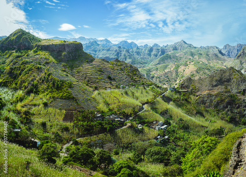 Canvas Prints Pool Cape Verde. Gorgeous panoramic view of famous fertile Paul Valley. Agriculture terraces of sugarcane in vertical valley sides, people dwellings, rugged peaks and motion clouds on horizon